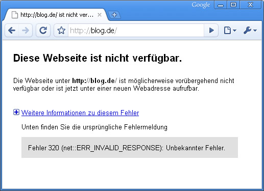 Google Chrome blockt Blog.de