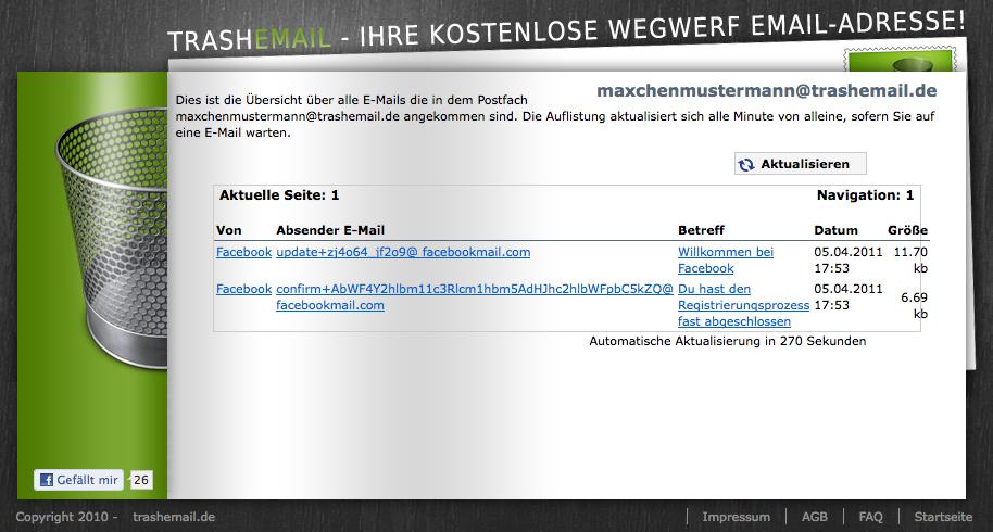Posteingang von trashemail.de. Screenshot (fällt nicht unter eine freie Lizenz).